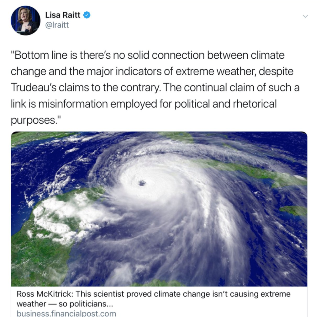 lisa raitt climate change denial